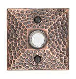 Brass Doorbell Button with Hammered Rosette