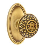 Brass Designer Dummy Knob Set with Lancaster Knob & Oval Rosette