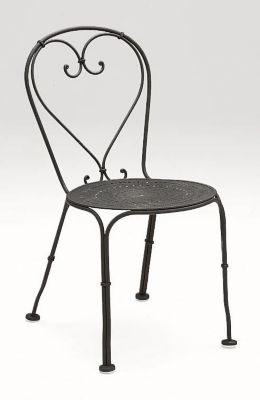 Parisienne Side Chair with Pattern Metal Seat without Cushions