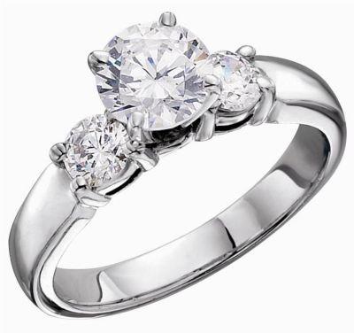 Women's Vintage Semi-Mount 3 Stone Shared Prong Diamond Engagement Ring  - 1/2 ct tw