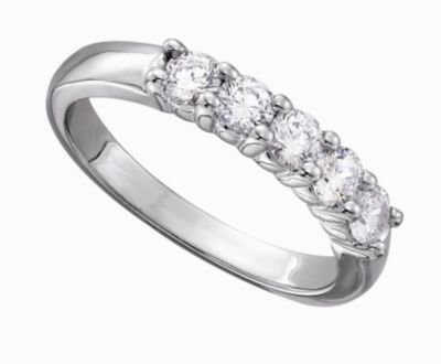 Women's Classic 5 Stone Shared Prong Diamond Band - 3/4 ct tw