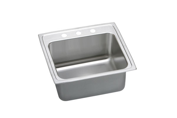Gourmet (Lustertone) Stainless Steel Single Bowl Top Mount Sink Kit