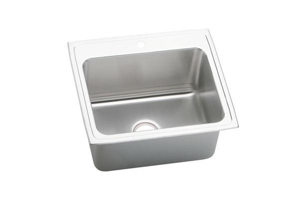 Gourmet (Lustertone) Stainless Steel Single Bowl Top Mount Sink Kit