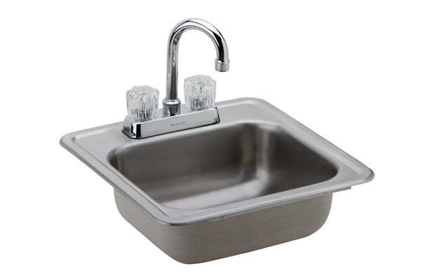 Dayton Stainless Steel Single Bowl Top Mount Bar Sink + Faucet Kit