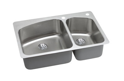 Image for Dayton Premium Stainless Steel Double Bowl Dual / Universal Mount Sink Kit from elkay-consumer