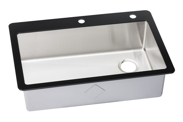 Crosstown Stainless Steel Single Bowl Top mount Sink with Glass Top