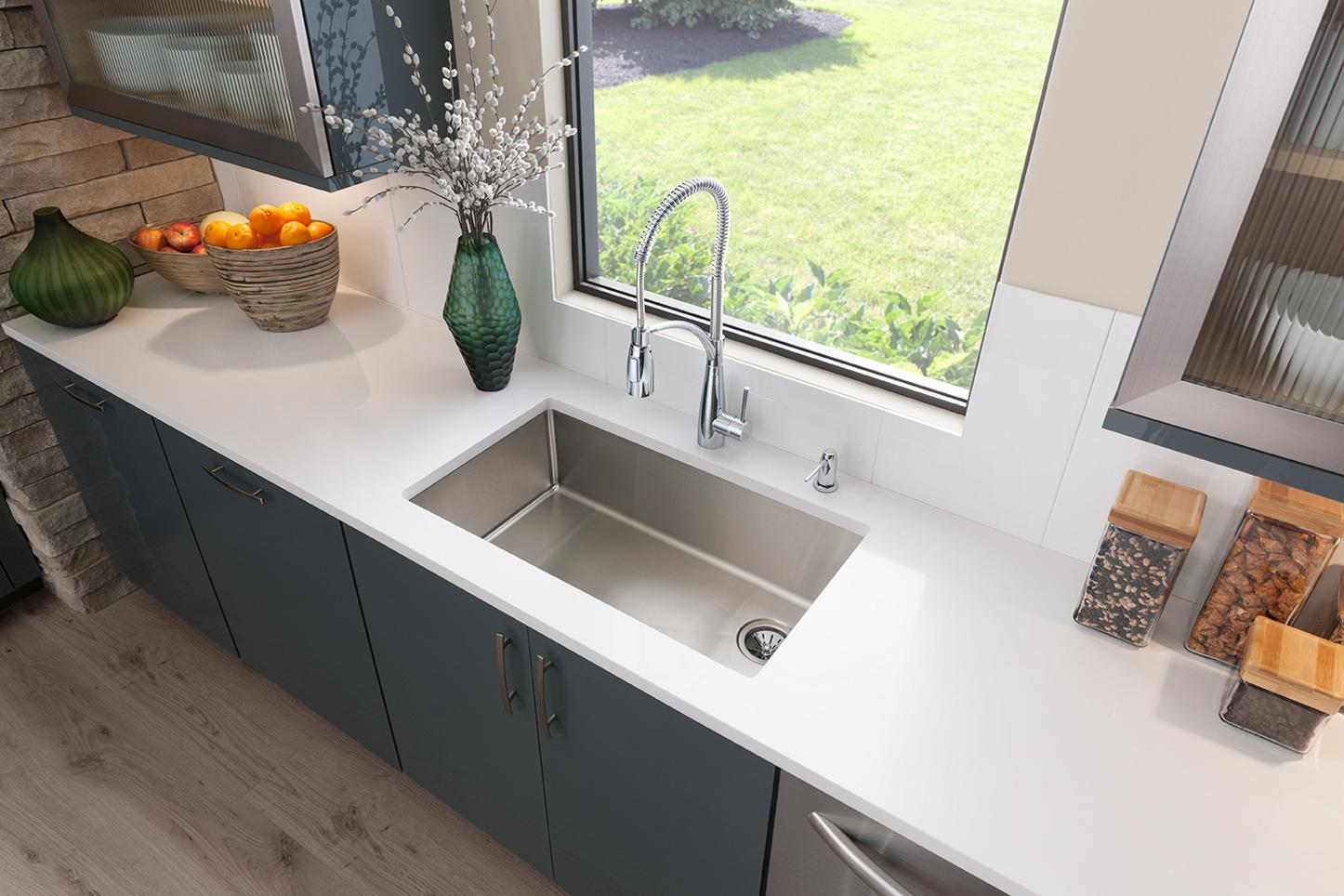 crosstown stainless steel kitchen sinks elkay undermount install under the counter to create a clean uninterrupted feel