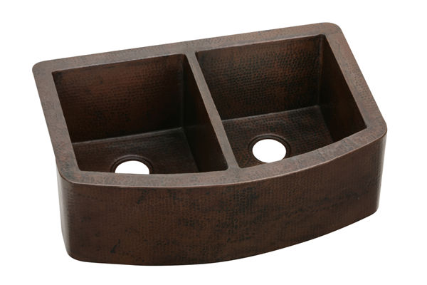 Harmony Copper Double Bowl Apron Front Undermount Sink