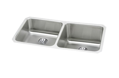 Image for Gourmet (Lustertone) Stainless Steel Double Bowl Undermount Sink Kit from elkay-consumer