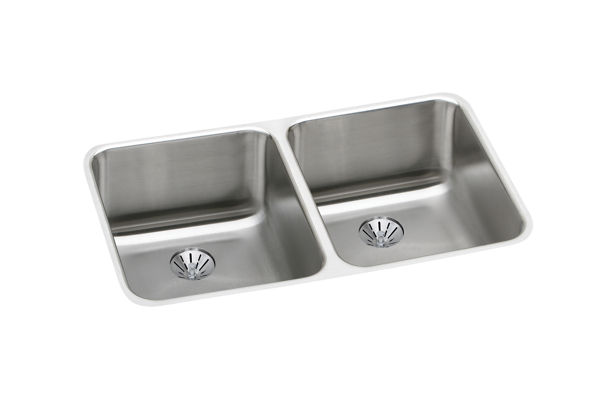 Gourmet (Lustertone) Stainless Steel Double Bowl Undermount Sink Kit