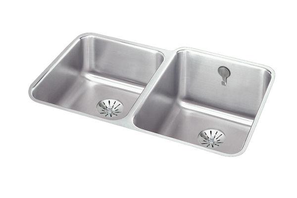 Gourmet (Lustertone) Stainless Steel Double Bowl Undermount Sink Kit