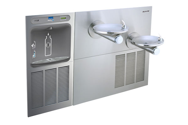 EZH2O® Bottle Filling Station with SwirlFlo® Green Bi-Level Refrigerated Fountain