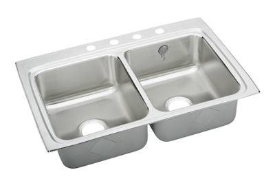 Image for Gourmet (Lustertone) Stainless Steel Double Bowl Top Mount Sink Kit from elkay-consumer