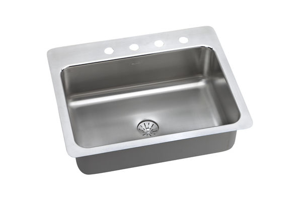 Gourmet (Lustertone) Stainless Steel Single Bowl Dual / Universal Mount Sink Kit