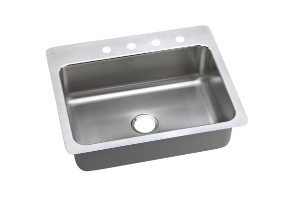 Gourmet (Lustertone) Stainless Steel Single Bowl Dual / Universal Mount Sink