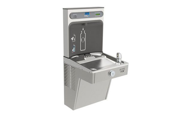 Filtered EZH2O® Bottle Filling Station with Single Green Vandal-Resistant Cooler