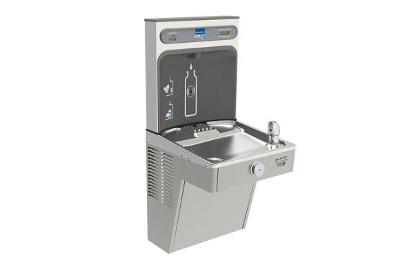 Filtered EZH2O® Bottle Filling Station with Single Green Vandal-Resistant Cooler