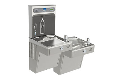 Image for Filtered EZH2O® Bottle Filling Station with Bi-Level Green Vandal-Resistant Cooler from elkay-consumer