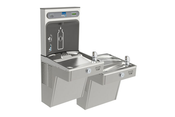 Filtered EZH2O® Bottle Filling Station with Bi-Level Green Vandal-Resistant Cooler