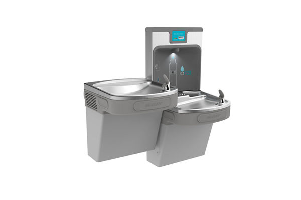 Filtered Enhanced EZH2O® Bottle Filling Station with Bi-level ADA Cooler-Light Gray