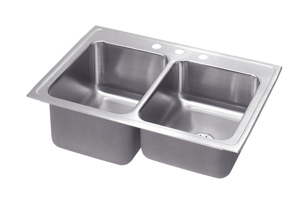 Gourmet (Lustertone) Stainless Steel Double Bowl Top Mount Sink Kit