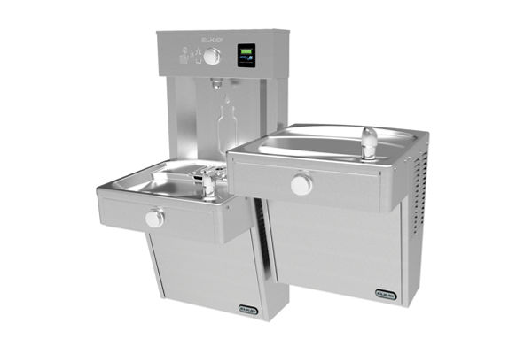 Vandal-Resistant EZH2O® Bottle Filling Station with Bi-Level Reverse Vandal-Resistant Cooler