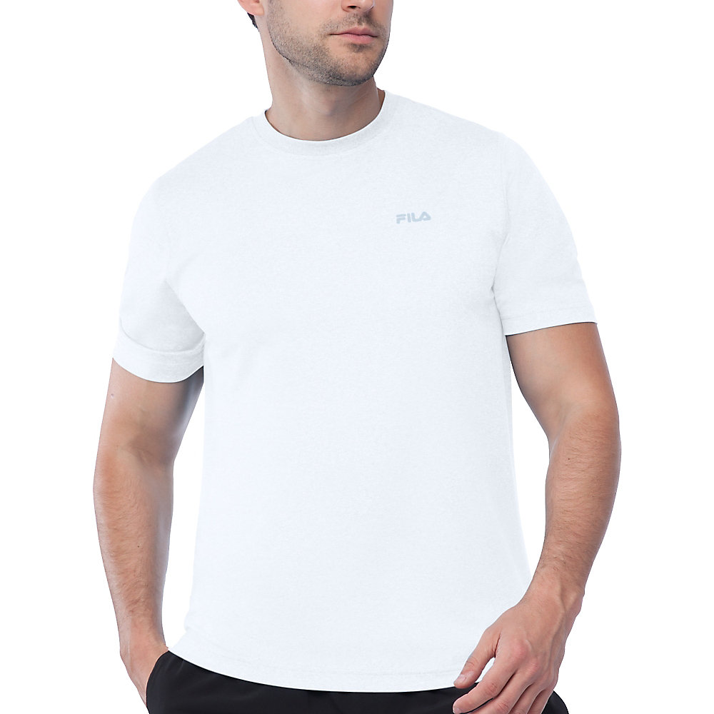 performance heather short sleeve tee in white