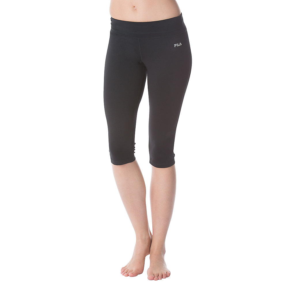 contrast waist tight capri in black