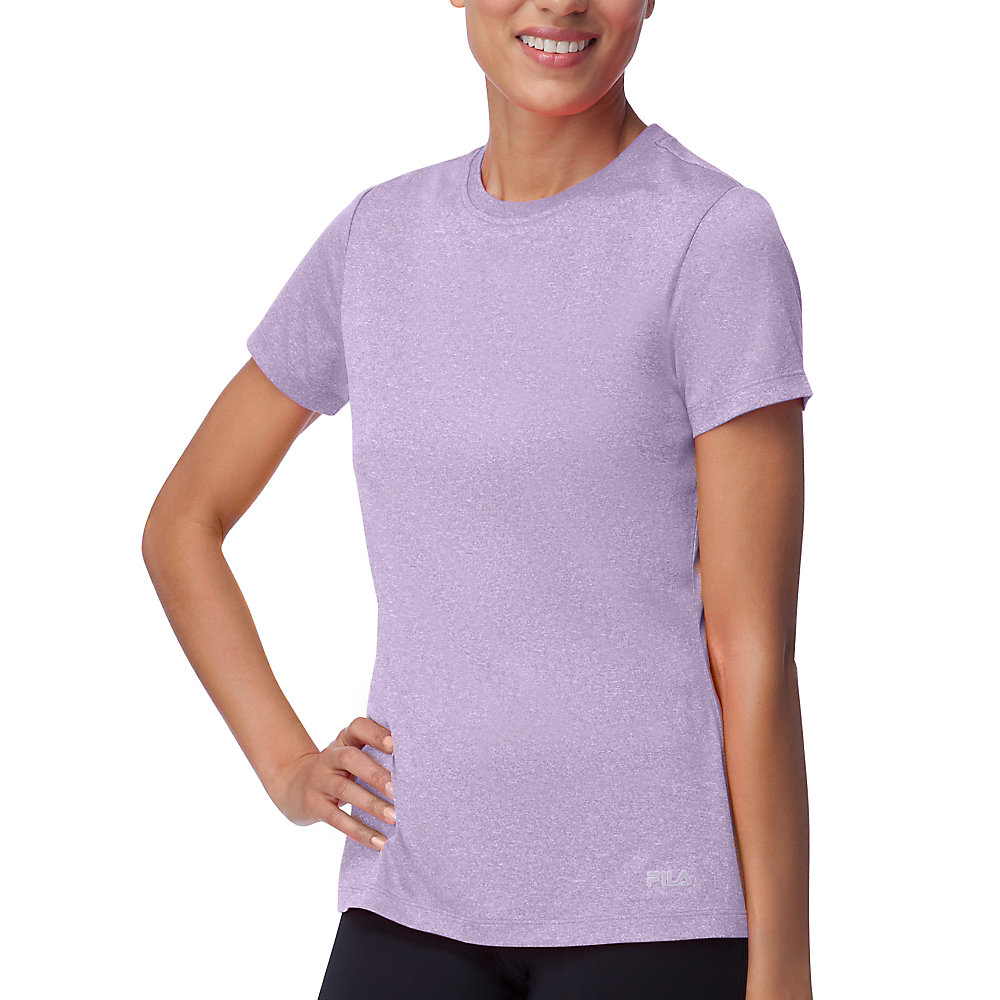 short sleeve crew heather tee in lavender