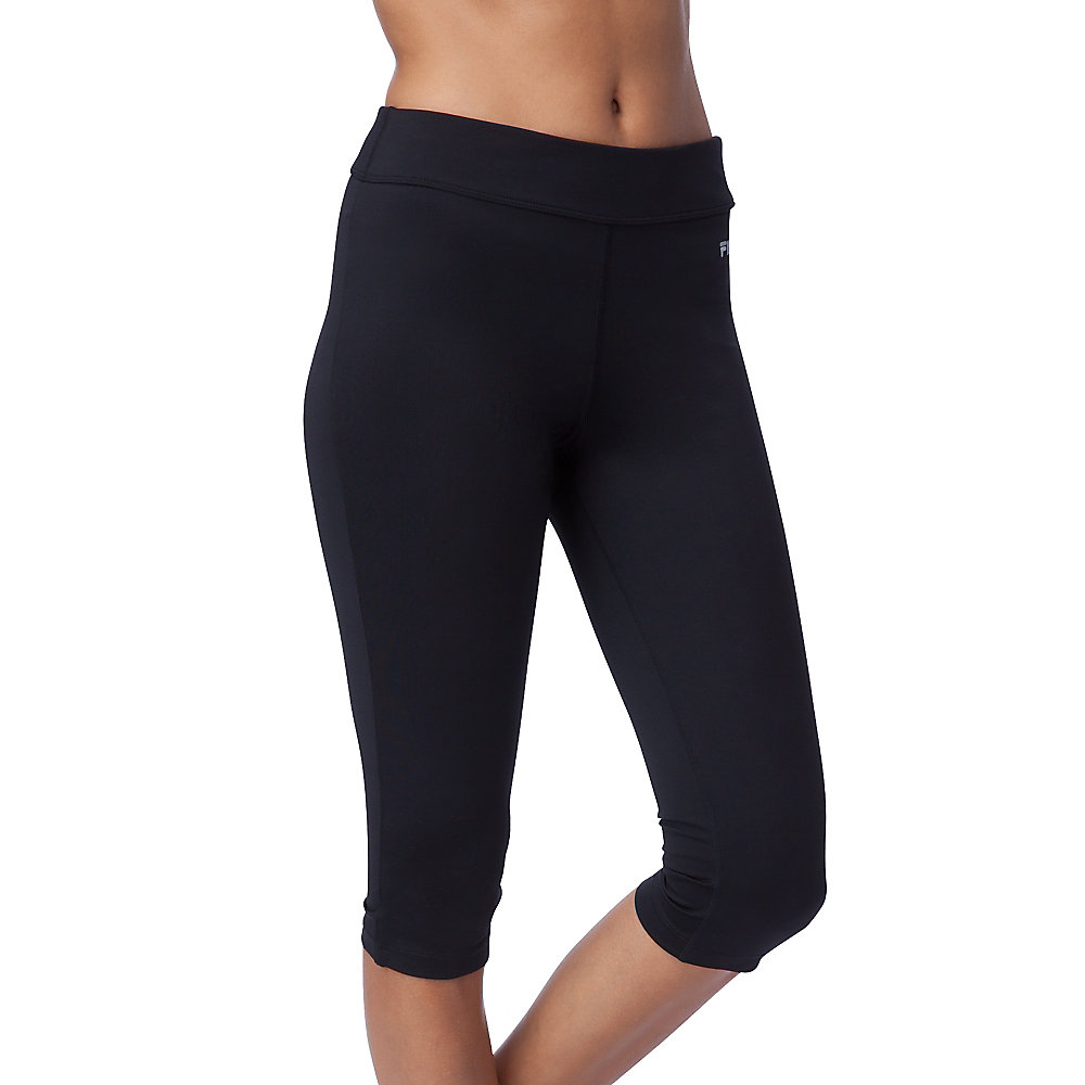 side piped tight capri in black