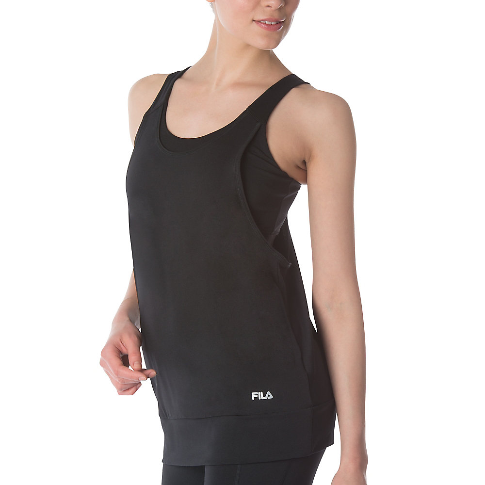 double scoop two-fer tank in black