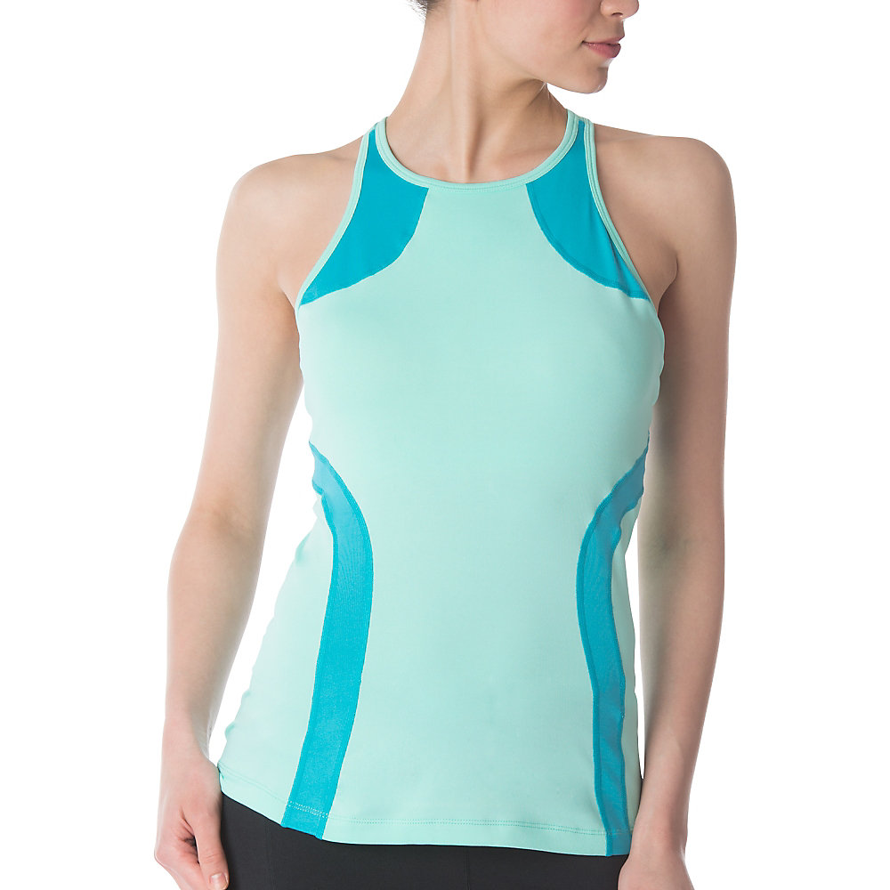 fly girl halter tank in aqua
