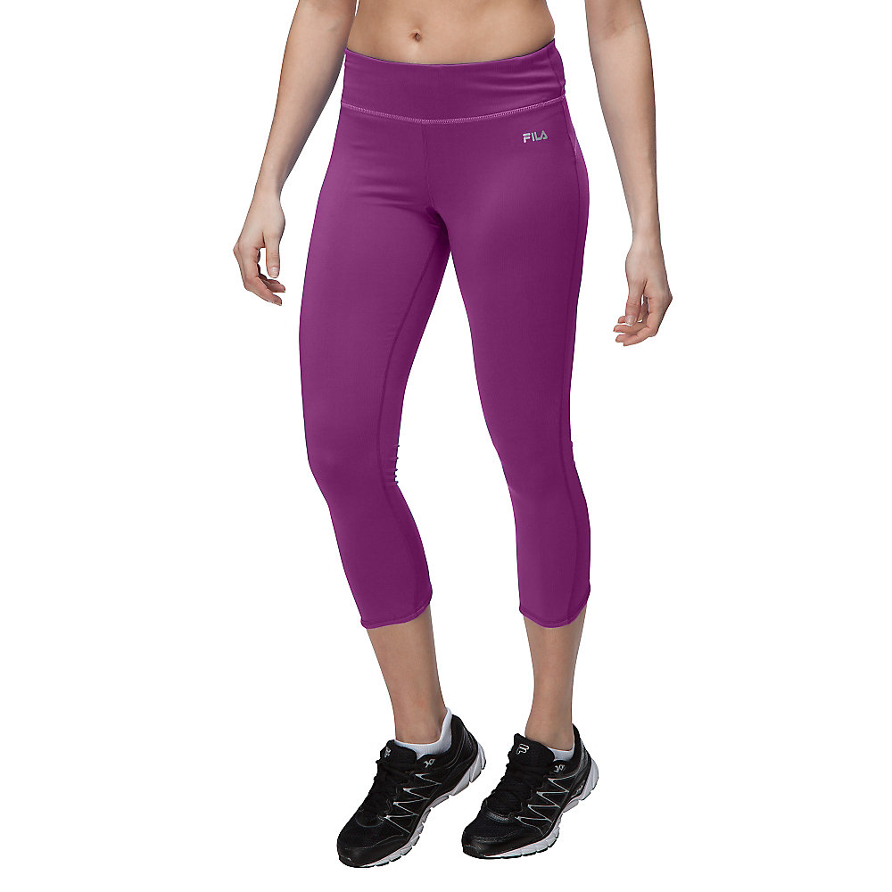 glam 3/4 ruched capri in purplemagic