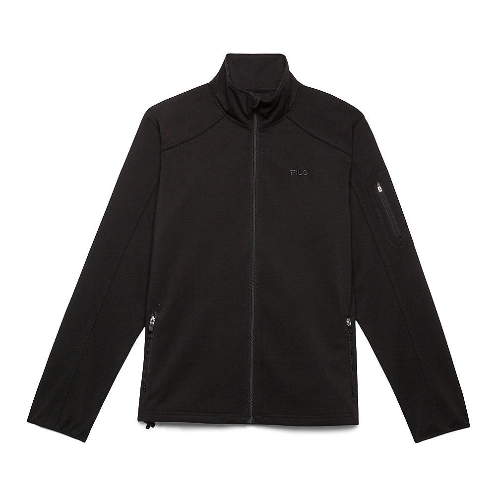 bulls eye bonded jacket in black