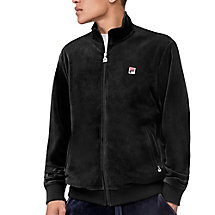 slim velour jacket in black