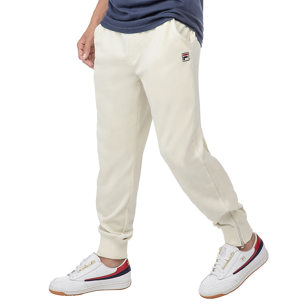 slim velour pants in ivory