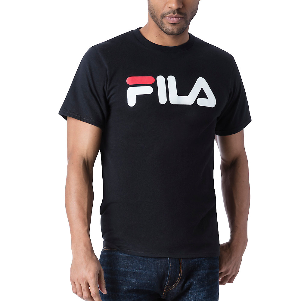 men's fila logo tee shirt in black