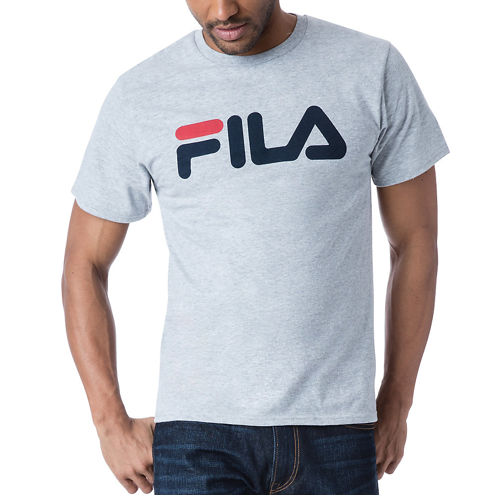 men's fila logo tee shirt in grey