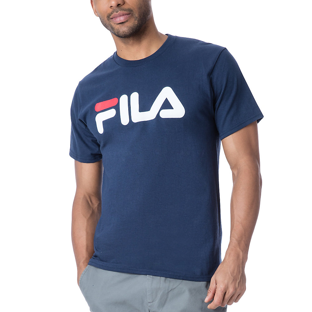 men's fila logo tee shirt in navy