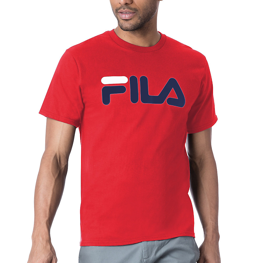 men's fila logo tee shirt in red