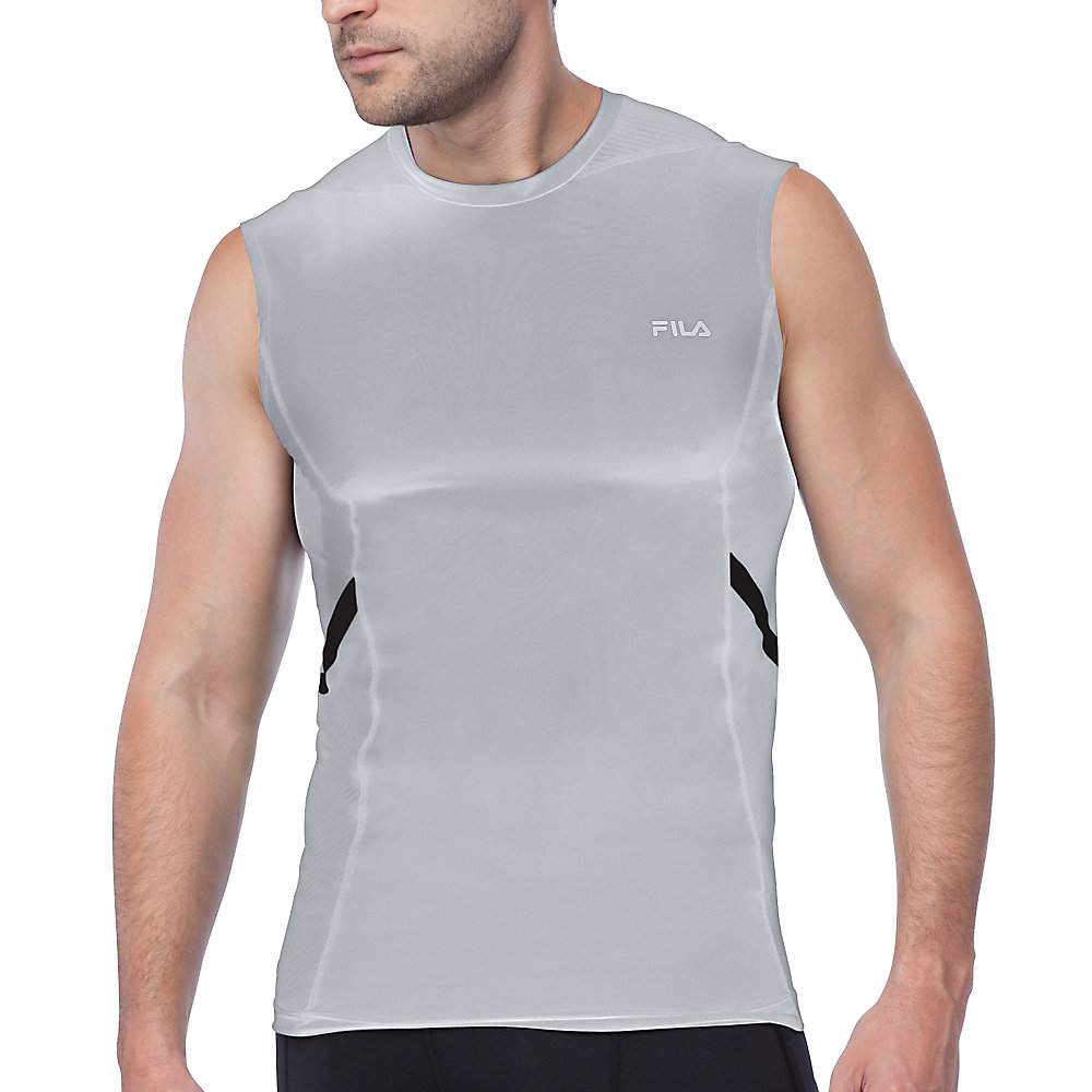 endurance sleeveless compression top in grey
