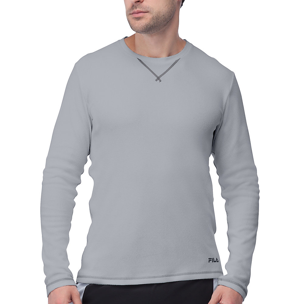 stoked waffle long sleeve in grey