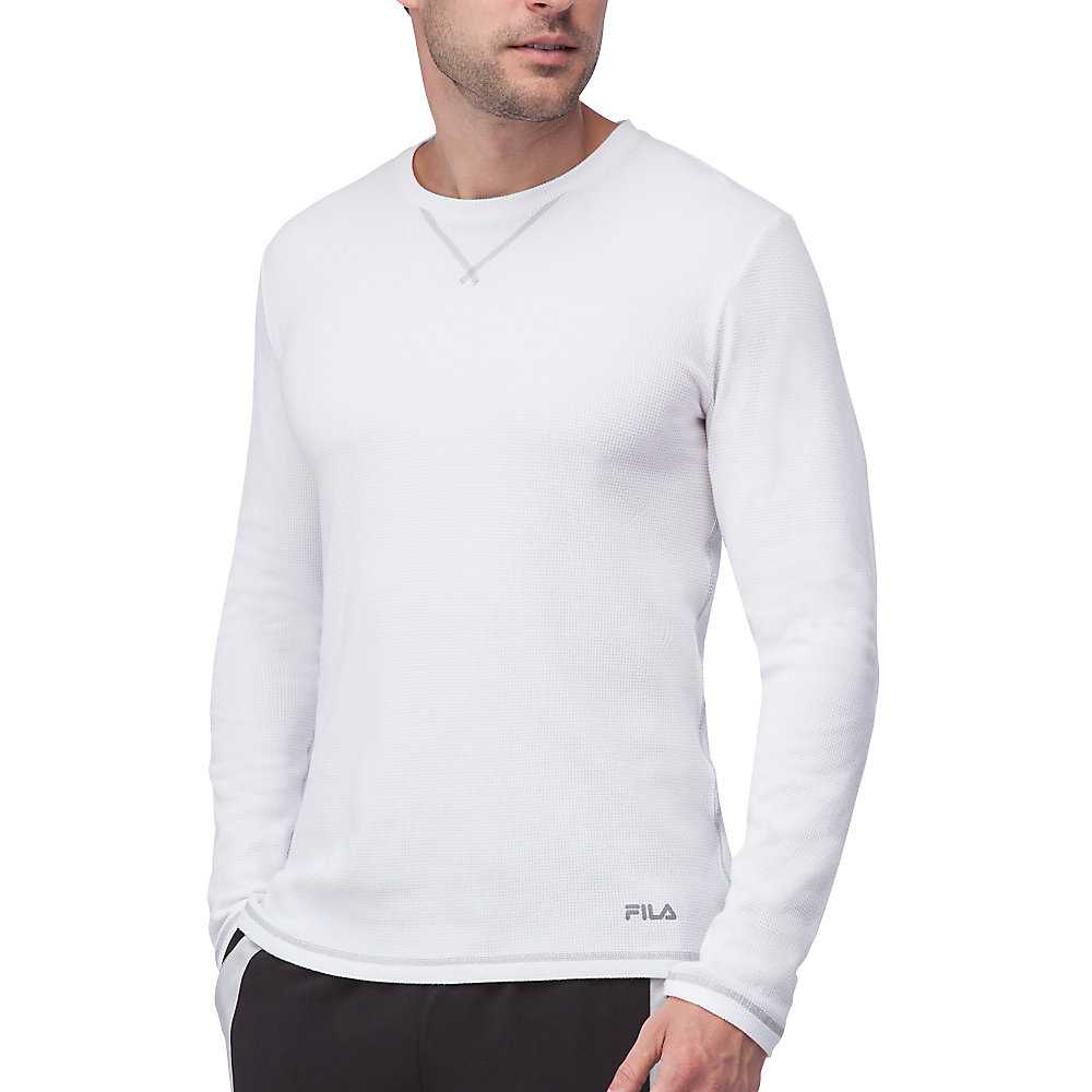 stoked waffle long sleeve in white