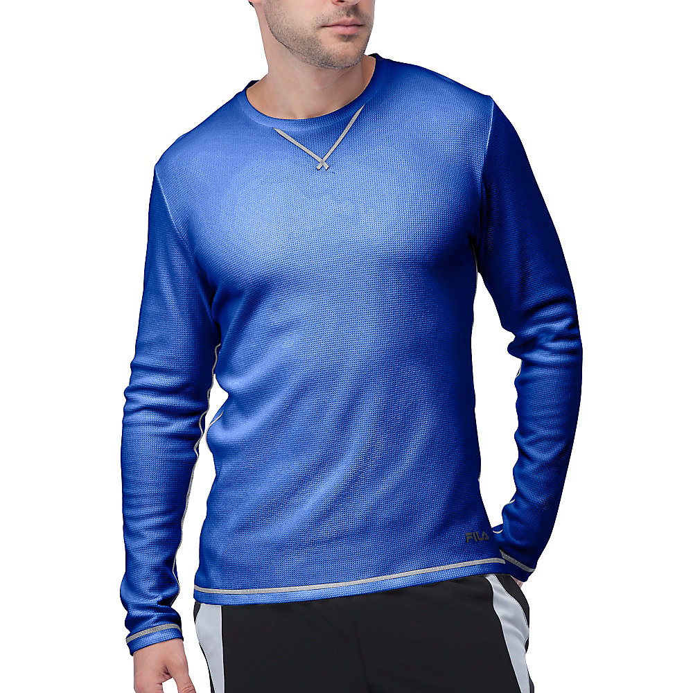 stoked waffle long sleeve in royalblue