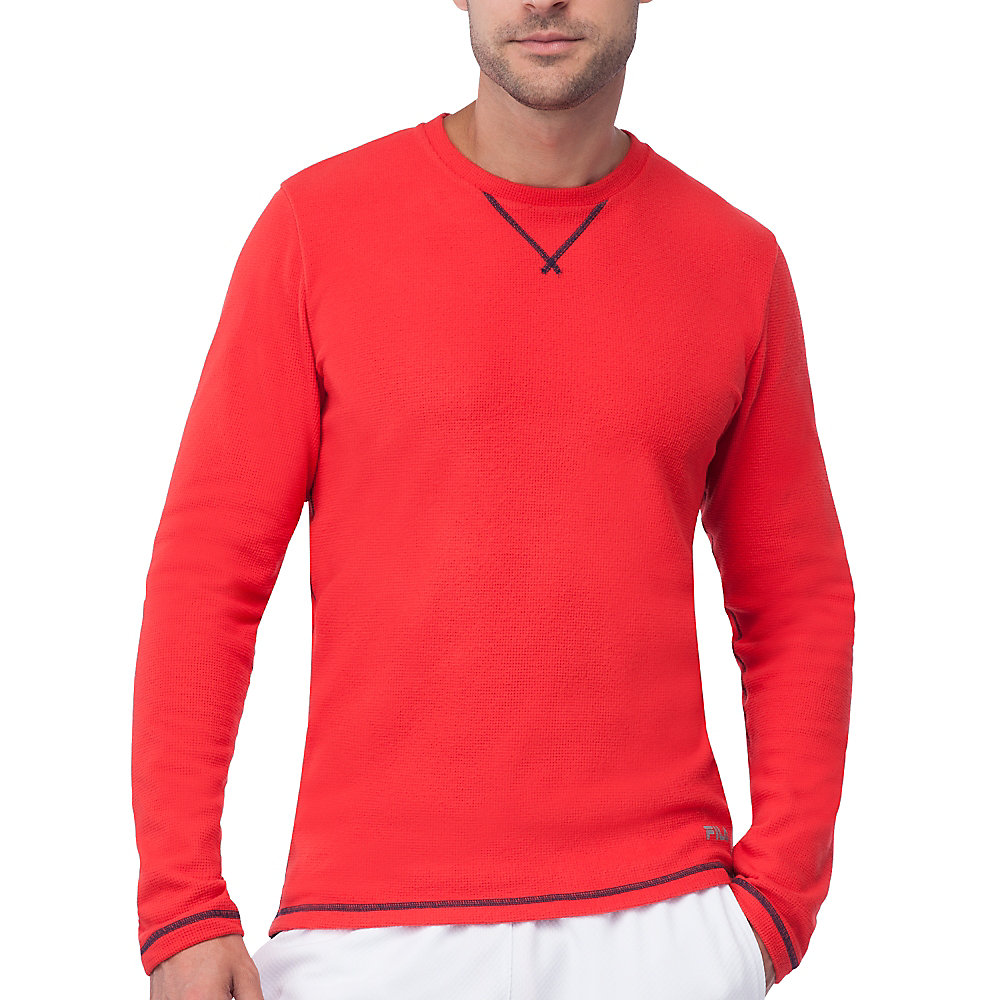 stoked waffle long sleeve in red