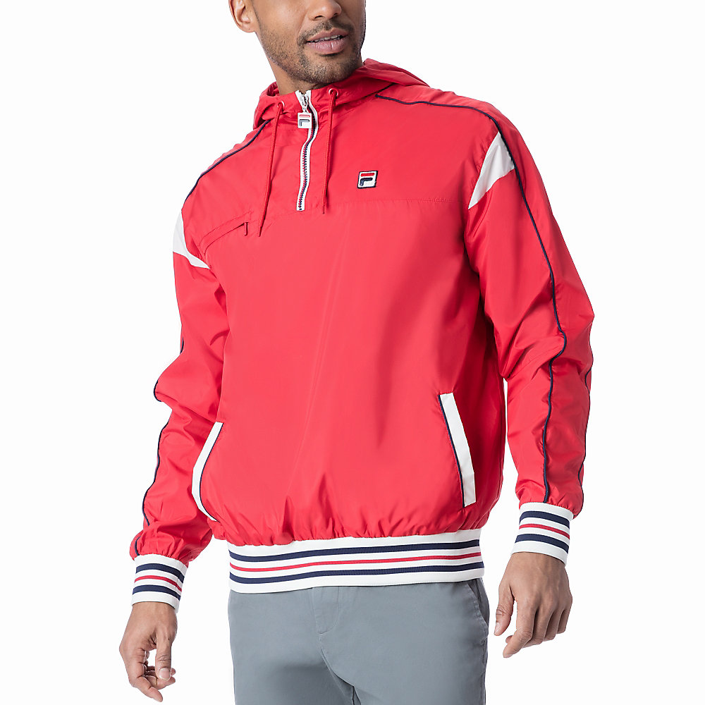 mecalle half zip in red