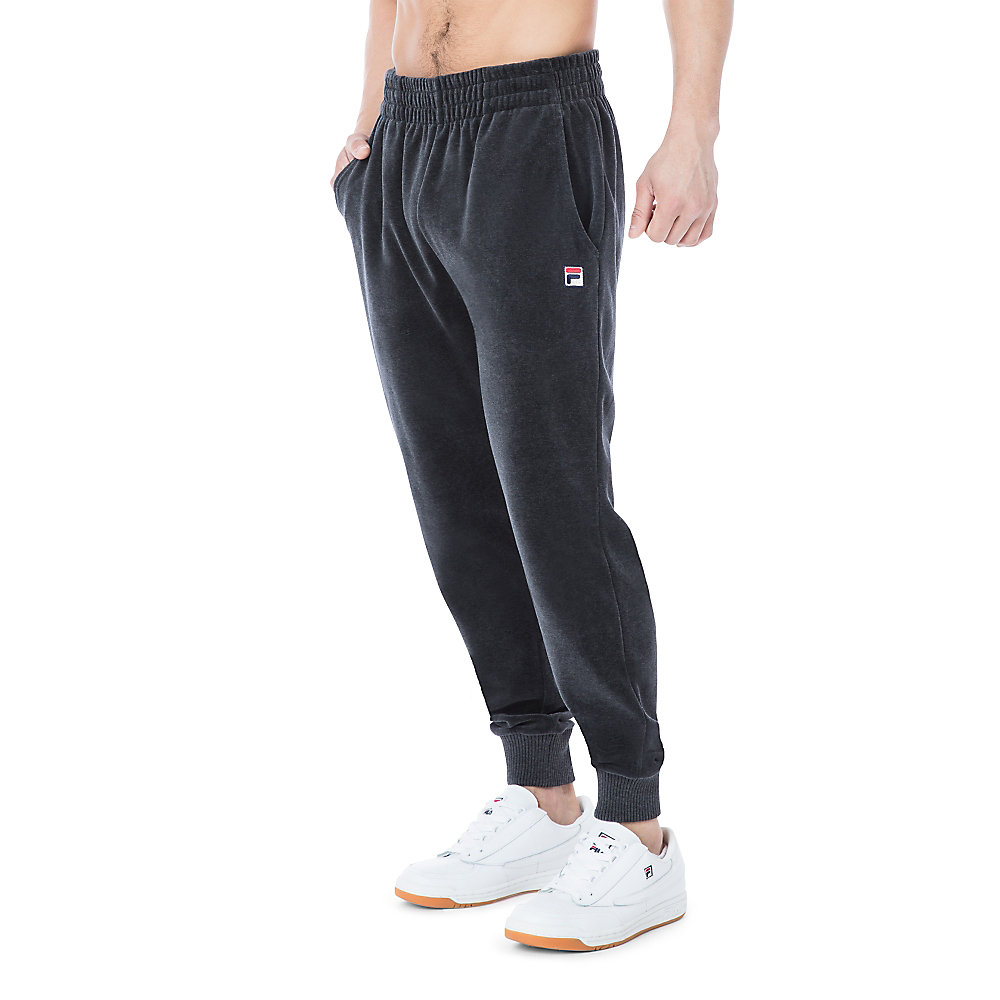 velour slim fit pant in black