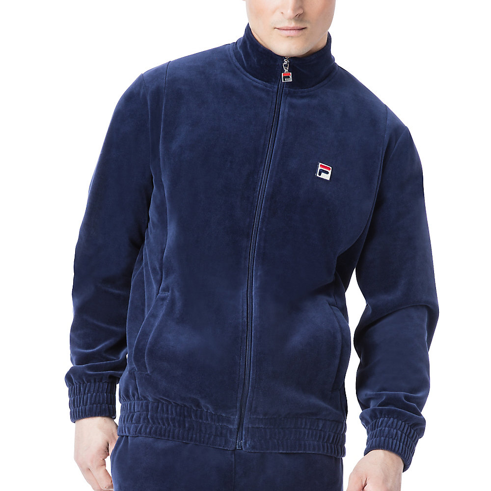 velour jacket in navy