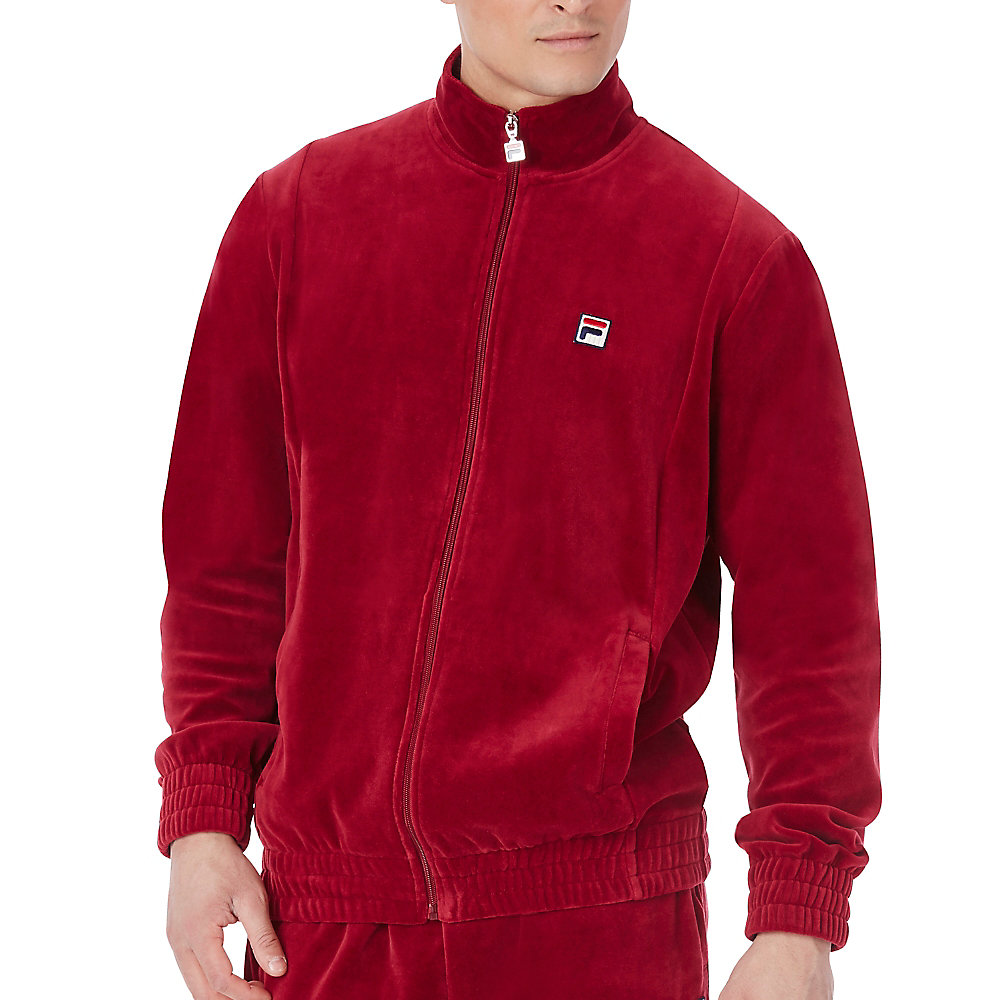 velour jacket in red