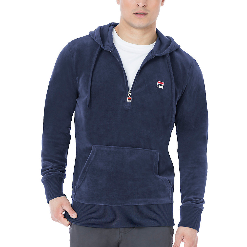 venezia half zip velour hoody in navy